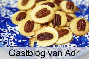 opgestapelde pecankoekjes op een blauw witte schaal Met de ondertekst: Gastblog van Adri