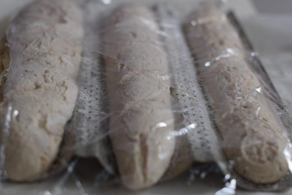 glutenvrij stokbrood met desem, drie stokbroden met plastic bedekt, die liggen te rijzen op een bakplaat met gaatjes