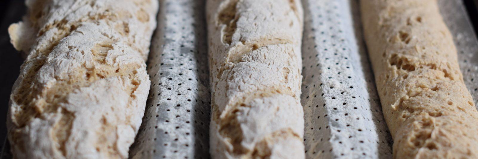 glutenvrij stokbrood met desem, drie gebakken stokbroden op een bakplaat met gaatjes