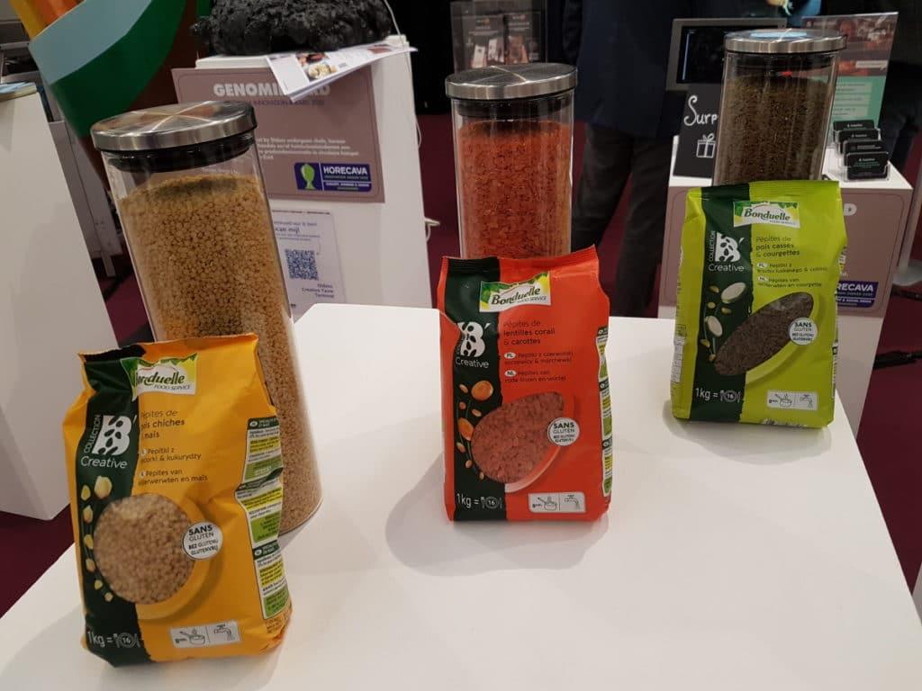 bonduelle glutenvrije producten met peulvruchten. drie soorten verpakkingen op de Horecava Amsterdam
