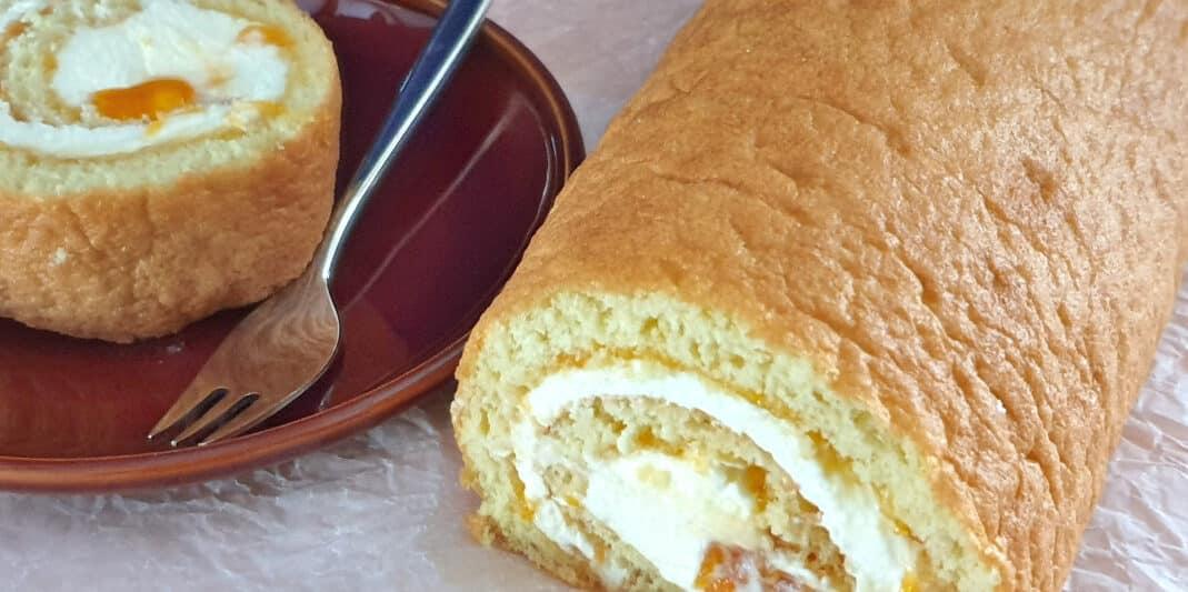 biscuitrol recept, met abrikozenjam en mascaponeslagroom vulling