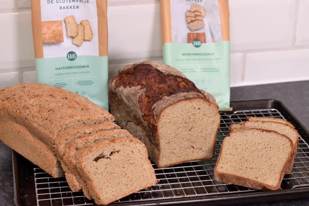 glutenvrije broodmixen van Holland and Barret, haverbroodmix en bonenbroodmix