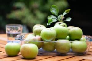 Seizoensfruit, mooi glanzende appels uit eigen tuin, opgestapeld in een glazen schaal